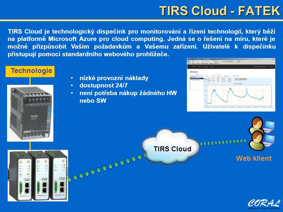 TIRS Cloud - FATEK TIRS Cloud je technologický dispečink pro monitorování a řízení technologií, který běží na platformě Microsoft Azure pro cloud computing.
