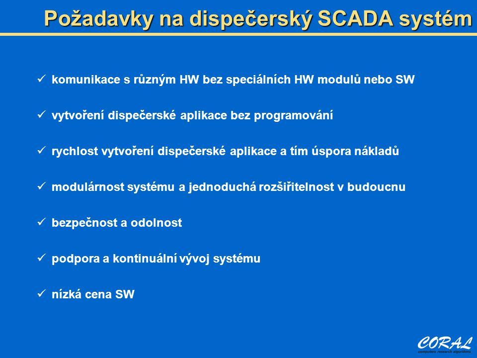 Požadavky na dispečerský SCADA systém komunikace s různým HW bez speciálních HW modulů nebo SW vytvoření dispečerské aplikace bez programování rychlost vytvoření dispečerské aplikace a tím úspora nákladů modulárnost systému a jednoduchá rozšiřitelnost v budoucnu bezpečnost a odolnost podpora a kontinuální vývoj systému nízká cena SW