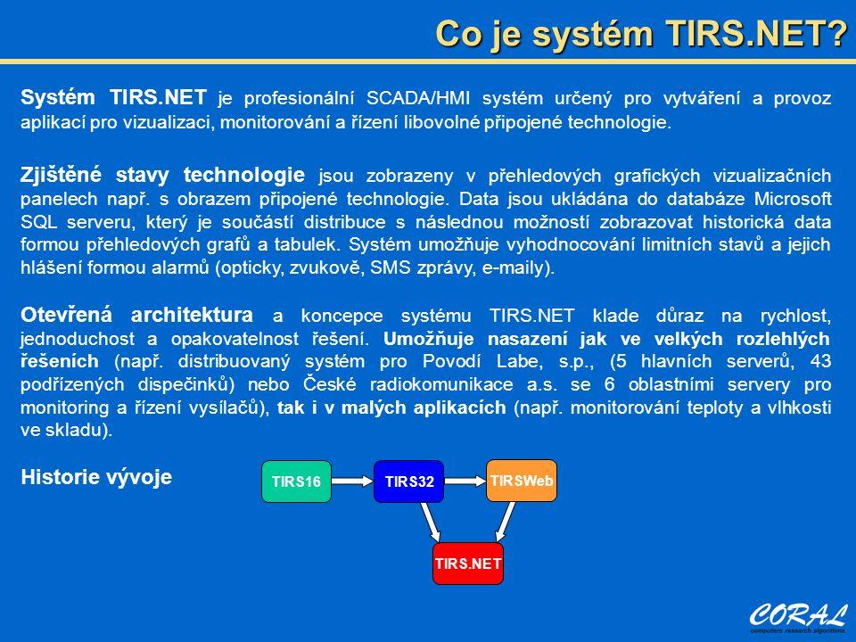 Co je systém TIRS.NET? TIRS16 TIRS.NET TIRSWeb TIRS32 Systém TIRS.NET je profesionální SCADA/HMI systém určený pro vytváření a provoz aplikací pro viz