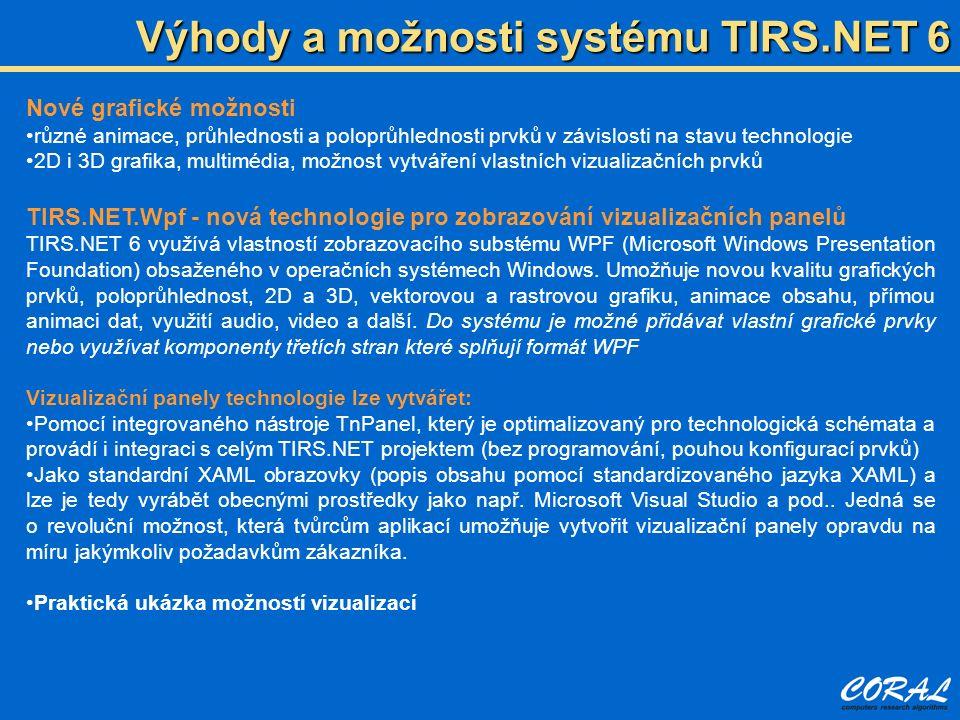 Výhody a možnosti systému TIRS.NET 6 Nové grafické možnosti různé animace, průhlednosti a poloprůhlednosti prvků v závislosti na stavu technologie 2D i 3D grafika, multimédia, možnost vytváření vlastních vizualizačních prvků TIRS.NET.Wpf - nová technologie pro zobrazování vizualizačních panelů TIRS.NET 6 využívá vlastností zobrazovacího substému WPF (Microsoft Windows Presentation Foundation) obsaženého v operačních systémech Windows.