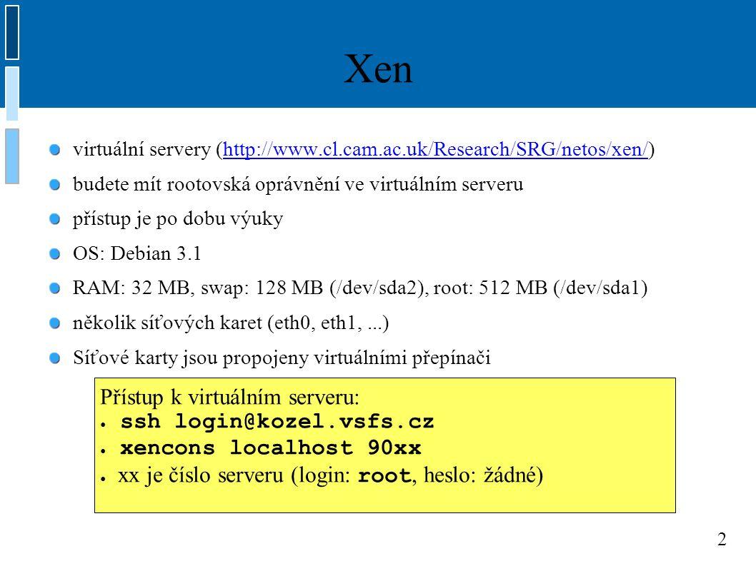 3 Síťové rozhraní neboli interface, HW: síťová karta v OS se přes síťové rozhraní přistupuje ke kartě – vlastně reprezentuje dané fyzické zařízení je to spojnice mezi vyššími protokoly a fyzickým zařízením V Linuxu: – Ethernet: eth0, eth1,...