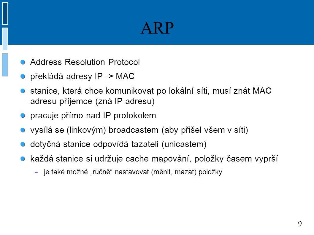 """9 ARP Address Resolution Protocol překládá adresy IP -> MAC stanice, která chce komunikovat po lokální síti, musí znát MAC adresu příjemce (zná IP adresu) pracuje přímo nad IP protokolem vysílá se (linkovým) broadcastem (aby přišel všem v síti) dotyčná stanice odpovídá tazateli (unicastem) každá stanice si udržuje cache mapování, položky časem vyprší – je také možné """"ručně nastavovat (měnit, mazat) položky"""