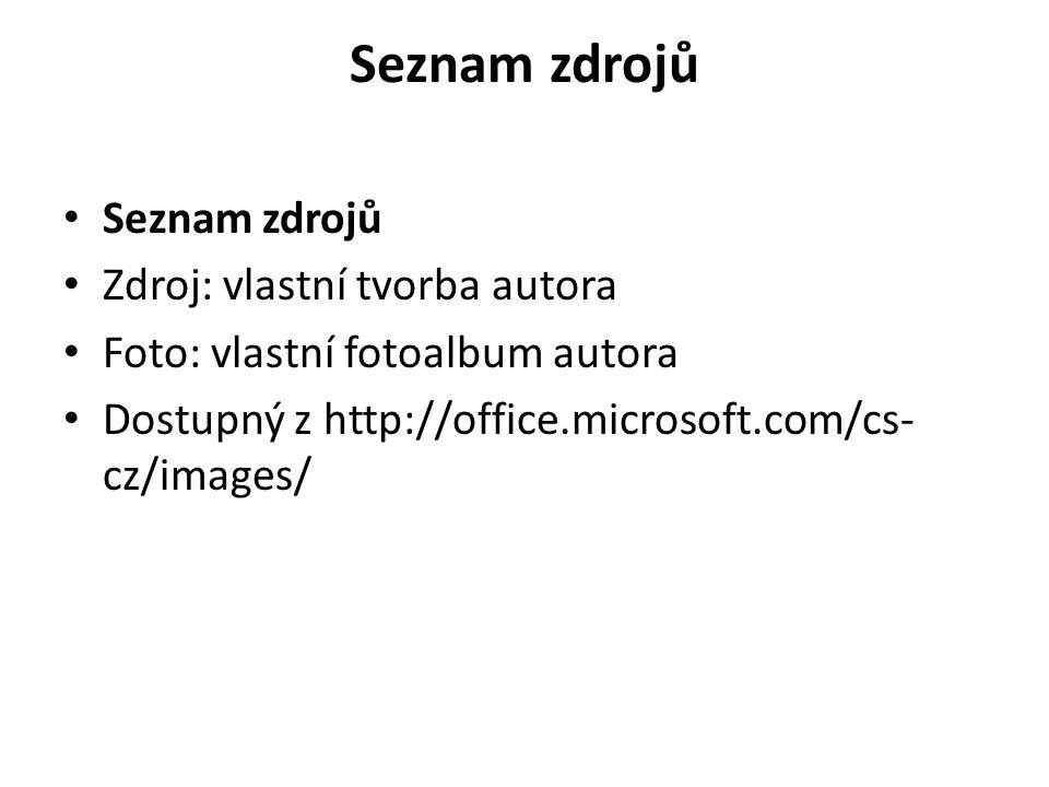 Seznam zdrojů Zdroj: vlastní tvorba autora Foto: vlastní fotoalbum autora Dostupný z http://office.microsoft.com/cs- cz/images/