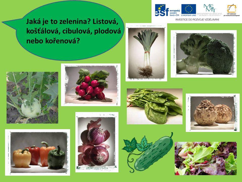 Jaká je to zelenina Listová, košťálová, cibulová, plodová nebo kořenová 3