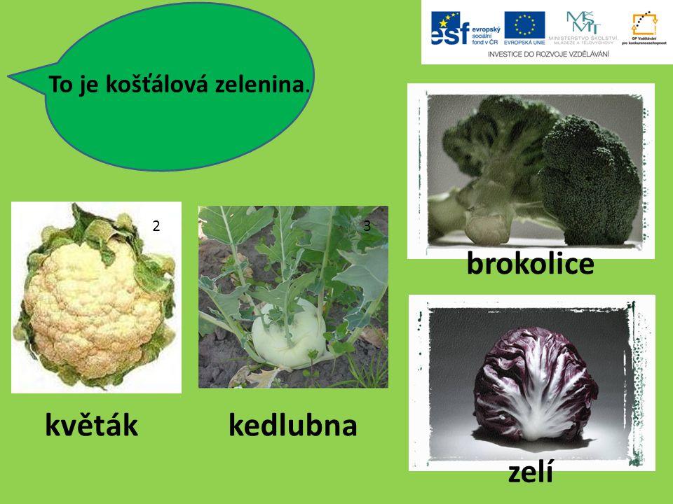 To je košťálová zelenina. 2 3 květákkedlubna brokolice zelí