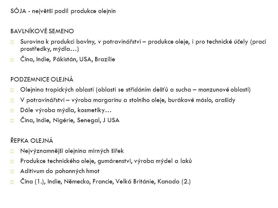 SÓJA - největší podíl produkce olejnin BAVLNÍKOVÉ SEMENO  Surovina k produkci bavlny, v potravinářství – produkce oleje, i pro technické účely (prací