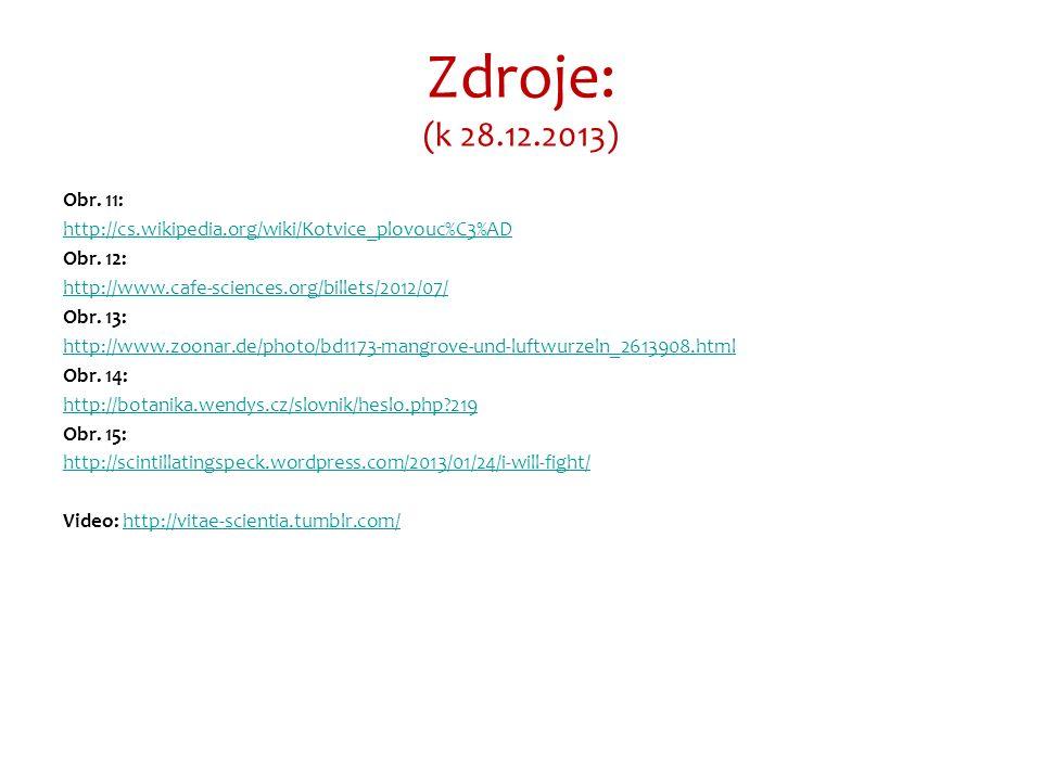 Zdroje: (k 28.12.2013) Obr. 11: http://cs.wikipedia.org/wiki/Kotvice_plovouc%C3%AD Obr.