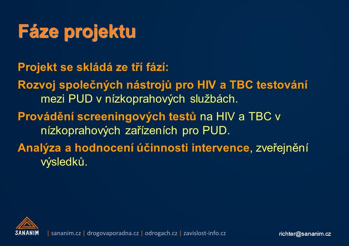 richter@sananim.cz Fáze projektu Projekt se skládá ze tří fází: Rozvoj společných nástrojů pro HIV a TBC testování mezi PUD v nízkoprahových službách.