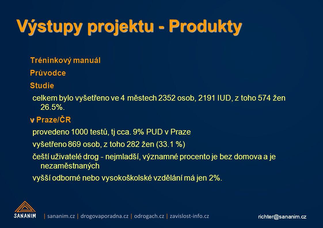 richter@sananim.cz Výstupy projektu - Produkty Tréninkový manuál Průvodce Studie celkem bylo vyšetřeno ve 4 městech 2352 osob, 2191 IUD, z toho 574 žen 26.5%.