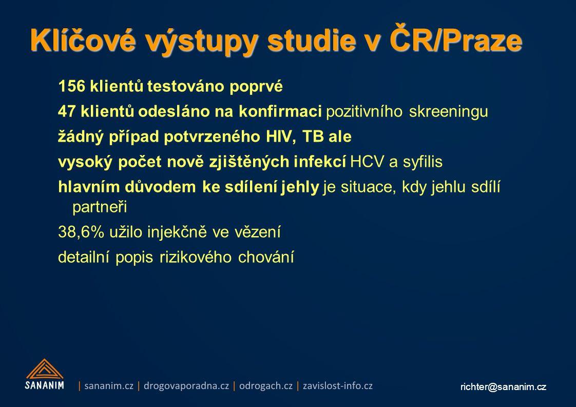richter@sananim.cz Klíčové výstupy studie v ČR/Praze 156 klientů testováno poprvé 47 klientů odesláno na konfirmaci pozitivního skreeningu žádný případ potvrzeného HIV, TB ale vysoký počet nově zjištěných infekcí HCV a syfilis hlavním důvodem ke sdílení jehly je situace, kdy jehlu sdílí partneři 38,6% užilo injekčně ve vězení detailní popis rizikového chování