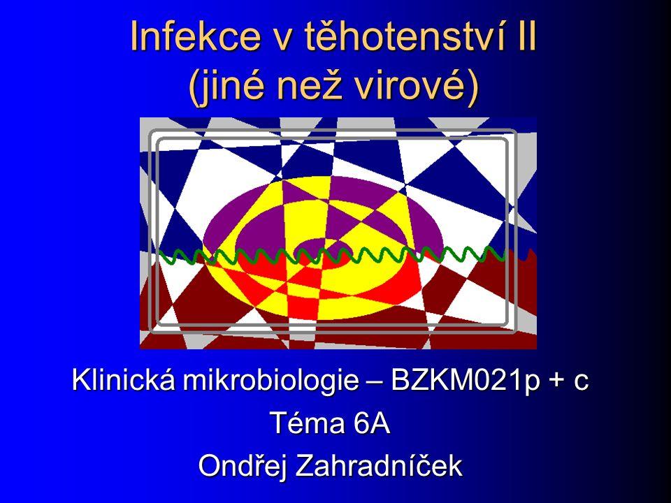 Infekce v těhotenství II (jiné než virové) Klinická mikrobiologie – BZKM021p + c Téma 6A Ondřej Zahradníček