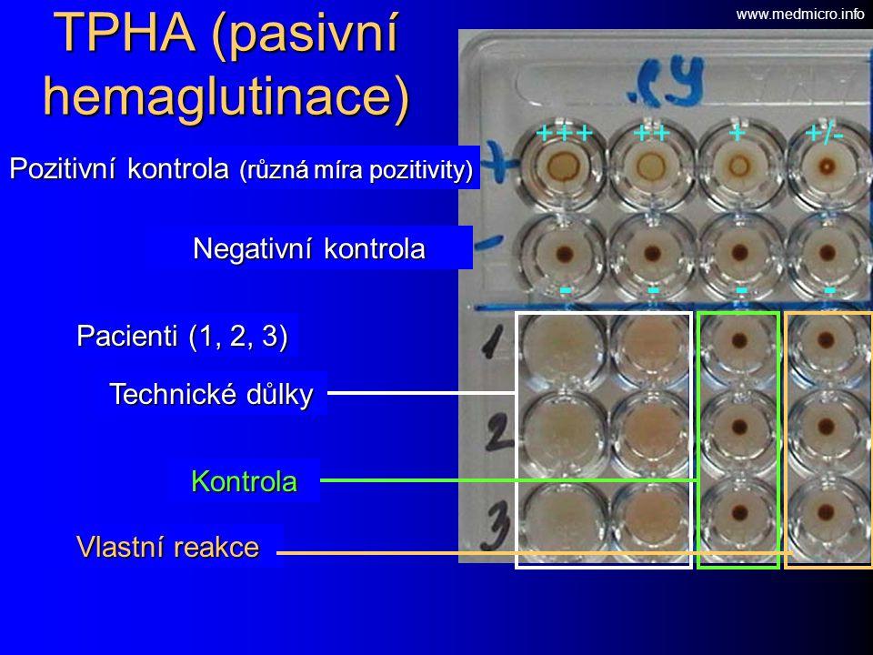 +++ ++ + +/- - - - - Pozitivní kontrola (různá míra pozitivity) Pacienti (1, 2, 3) TPHA (pasivní hemaglutinace) Negativní kontrola Technické důlky Kontrola Vlastní reakce www.medmicro.info