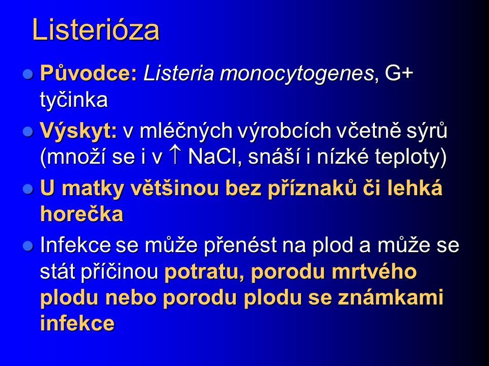 Listerióza Původce: Listeria monocytogenes, G+ tyčinka Původce: Listeria monocytogenes, G+ tyčinka Výskyt: v mléčných výrobcích včetně sýrů (množí se i v  NaCl, snáší i nízké teploty) Výskyt: v mléčných výrobcích včetně sýrů (množí se i v  NaCl, snáší i nízké teploty) U matky většinou bez příznaků či lehká horečka U matky většinou bez příznaků či lehká horečka Infekce se může přenést na plod a může se stát příčinou potratu, porodu mrtvého plodu nebo porodu plodu se známkami infekce Infekce se může přenést na plod a může se stát příčinou potratu, porodu mrtvého plodu nebo porodu plodu se známkami infekce
