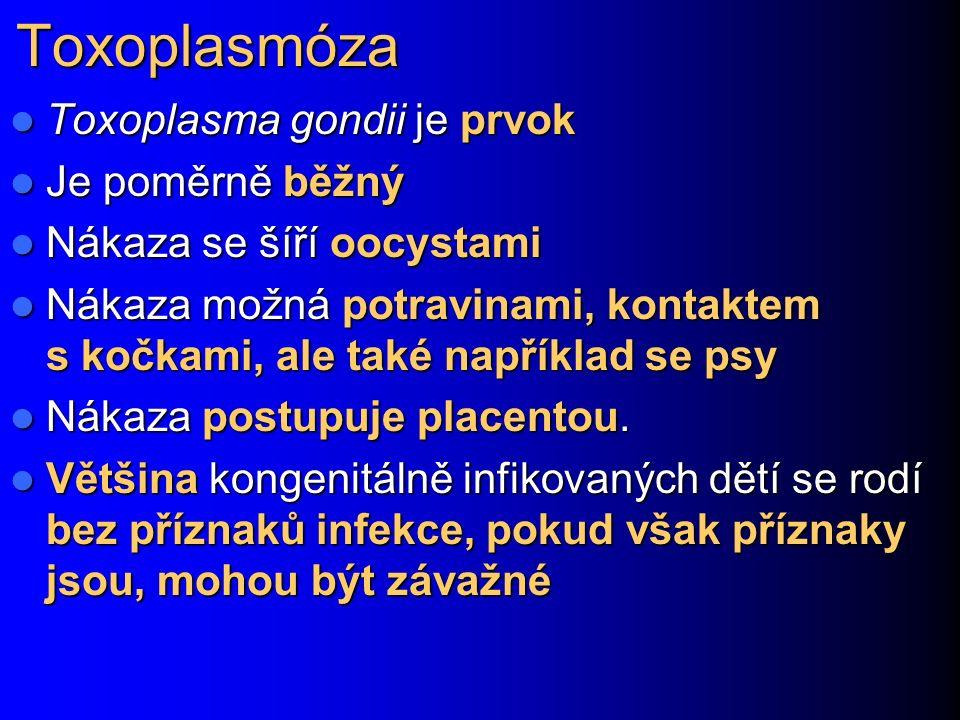 Toxoplasmóza Toxoplasma gondii je prvok Toxoplasma gondii je prvok Je poměrně běžný Je poměrně běžný Nákaza se šíří oocystami Nákaza se šíří oocystami Nákaza možná potravinami, kontaktem s kočkami, ale také například se psy Nákaza možná potravinami, kontaktem s kočkami, ale také například se psy Nákaza postupuje placentou.