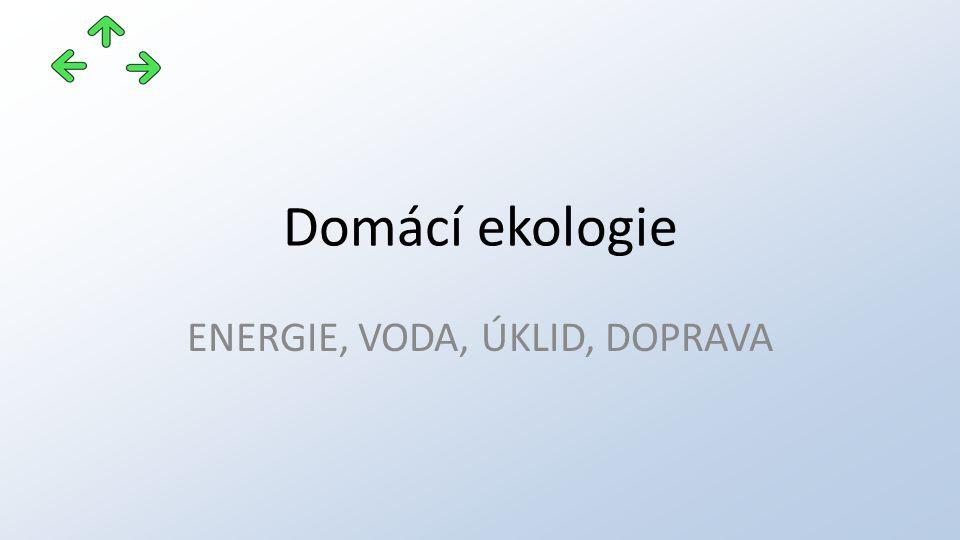 Domácí ekologie ENERGIE, VODA, ÚKLID, DOPRAVA