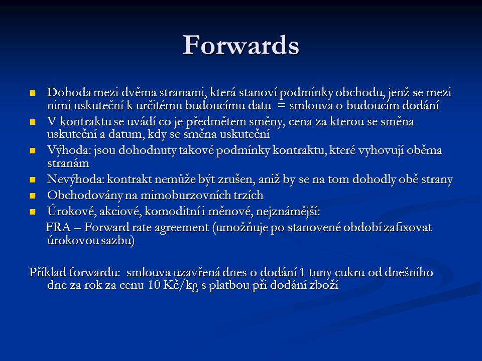 Forwards Dohoda mezi dvěma stranami, která stanoví podmínky obchodu, jenž se mezi nimi uskuteční k určitému budoucímu datu = smlouva o budoucím dodání Dohoda mezi dvěma stranami, která stanoví podmínky obchodu, jenž se mezi nimi uskuteční k určitému budoucímu datu = smlouva o budoucím dodání V kontraktu se uvádí co je předmětem směny, cena za kterou se směna uskuteční a datum, kdy se směna uskuteční V kontraktu se uvádí co je předmětem směny, cena za kterou se směna uskuteční a datum, kdy se směna uskuteční Výhoda: jsou dohodnuty takové podmínky kontraktu, které vyhovují oběma stranám Výhoda: jsou dohodnuty takové podmínky kontraktu, které vyhovují oběma stranám Nevýhoda: kontrakt nemůže být zrušen, aniž by se na tom dohodly obě strany Nevýhoda: kontrakt nemůže být zrušen, aniž by se na tom dohodly obě strany Obchodovány na mimoburzovních trzích Obchodovány na mimoburzovních trzích Úrokové, akciové, komoditní i měnové, nejznámější: Úrokové, akciové, komoditní i měnové, nejznámější: FRA – Forward rate agreement (umožňuje po stanovené období zafixovat úrokovou sazbu) FRA – Forward rate agreement (umožňuje po stanovené období zafixovat úrokovou sazbu) Příklad forwardu: smlouva uzavřená dnes o dodání 1 tuny cukru od dnešního dne za rok za cenu 10 Kč/kg s platbou při dodání zboží