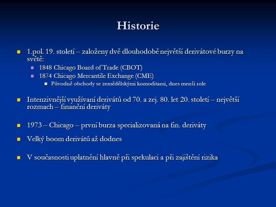 Historie 1.pol. 19. – založeny dvě dlouhodobě největší derivátové burzy na světě: 1.pol.
