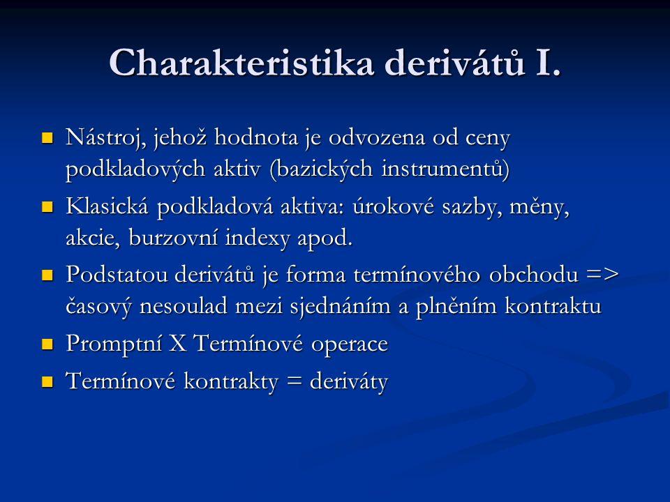 Charakteristika derivátů I.