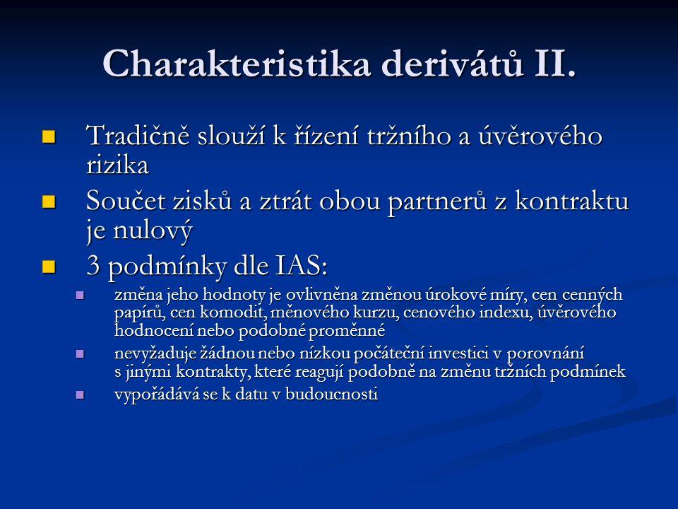 Charakteristika derivátů II.