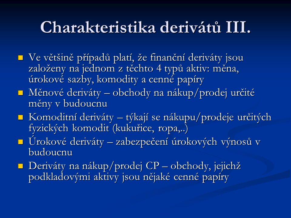 Příklad – úrokový swap Například strana A se zaváže platit fixní úrok 6 % z jednoho miliónu korun každý rok po dobu pěti let straně B.