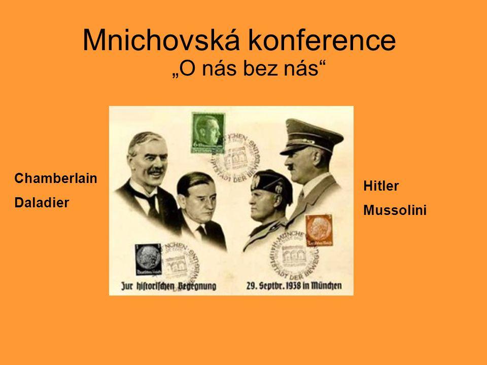 """Mnichovská konference """"O nás bez nás Chamberlain Daladier Hitler Mussolini"""