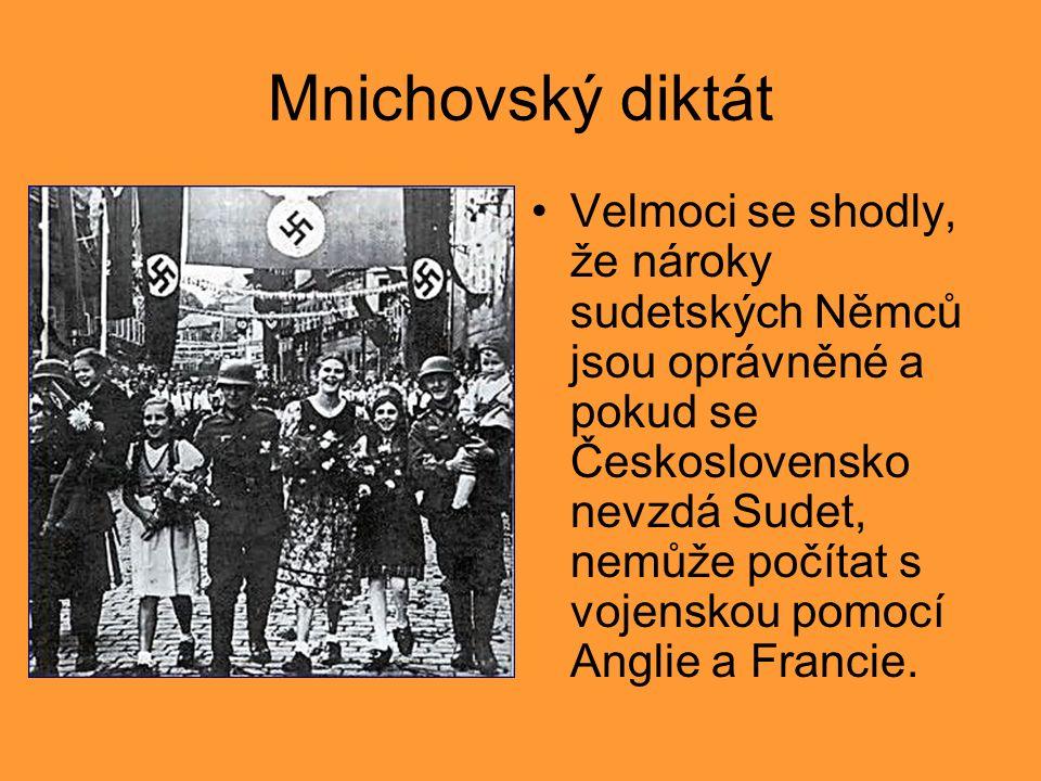Mnichovský diktát Velmoci se shodly, že nároky sudetských Němců jsou oprávněné a pokud se Československo nevzdá Sudet, nemůže počítat s vojenskou pomocí Anglie a Francie.