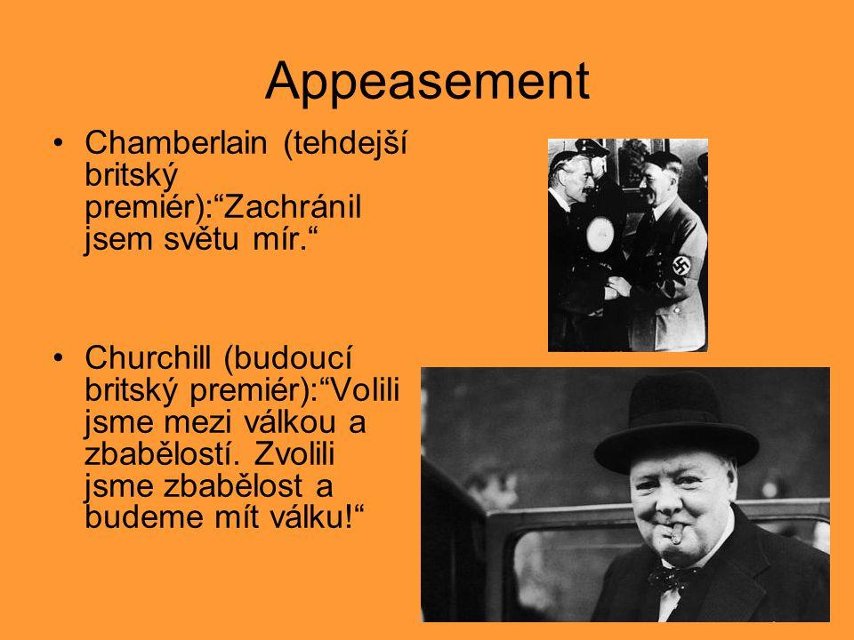 """Appeasement Chamberlain (tehdejší britský premiér):""""Zachránil jsem světu mír."""" Churchill (budoucí britský premiér):""""Volili jsme mezi válkou a zbabělos"""