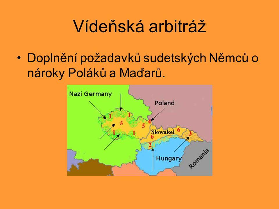 Vídeňská arbitráž Doplnění požadavků sudetských Němců o nároky Poláků a Maďarů.