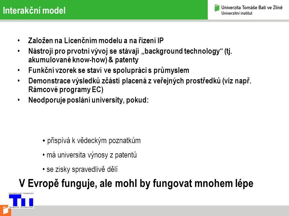 """Interakční model Založen na Licenčním modelu a na řízení IP Nástroji pro prvotní vývoj se stávají """"background technology (tj."""