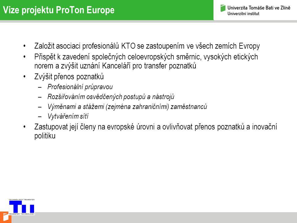 Vize projektu ProTon Europe Založit asociaci profesionálů KTO se zastoupením ve všech zemích Evropy Přispět k zavedení společných celoevropských směrnic, vysokých etických norem a zvýšit uznání Kanceláří pro transfer poznatků Zvýšit přenos poznatků – Profesionální průpravou – Rozšiřováním osvědčených postupů a nástrojů – Výměnami a stážemi (zejména zahraničními) zaměstnanců – Vytvářením sítí Zastupovat její členy na evropské úrovni a ovlivňovat přenos poznatků a inovační politiku