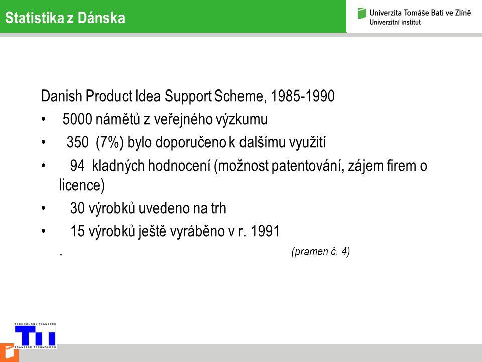 Statistika z Dánska Danish Product Idea Support Scheme, 1985-1990 5000 námětů z veřejného výzkumu 350 (7%) bylo doporučeno k dalšímu využití 94 kladných hodnocení (možnost patentování, zájem firem o licence) 30 výrobků uvedeno na trh 15 výrobků ještě vyráběno v r.