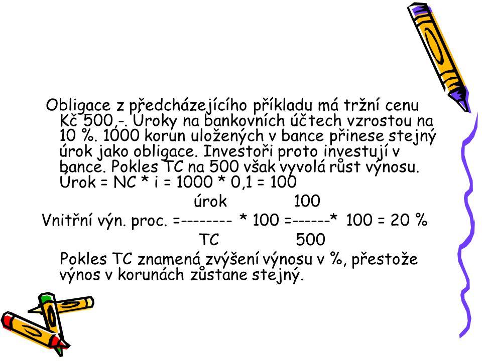 Obligace z předcházejícího příkladu má tržní cenu Kč 500,-.