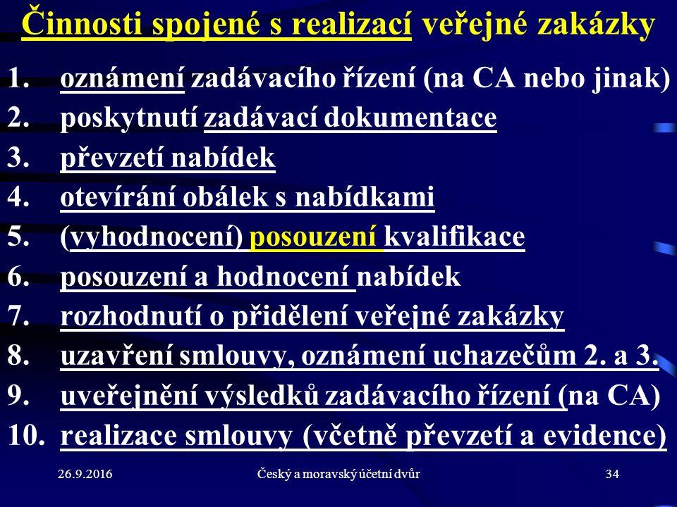 26.9.2016Český a moravský účetní dvůr34 Činnosti spojené s realizací veřejné zakázky 1. oznámení zadávacího řízení (na CA nebo jinak) 2. poskytnutí za