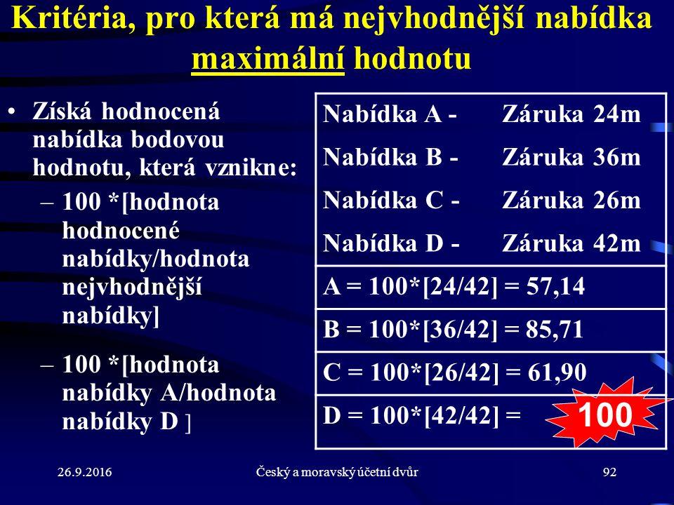 26.9.2016Český a moravský účetní dvůr92 100 Kritéria, pro která má nejvhodnější nabídka maximální hodnotu Získá hodnocená nabídka bodovou hodnotu, kte