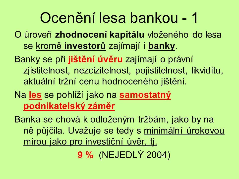 Ocenění lesa bankou - 2 Banka vychází z běžných výkazů (zpracování bilance, výsledovky a cash flow statement – zákonem stanovené maximální těžby v lese) a výsledek diskontuje.