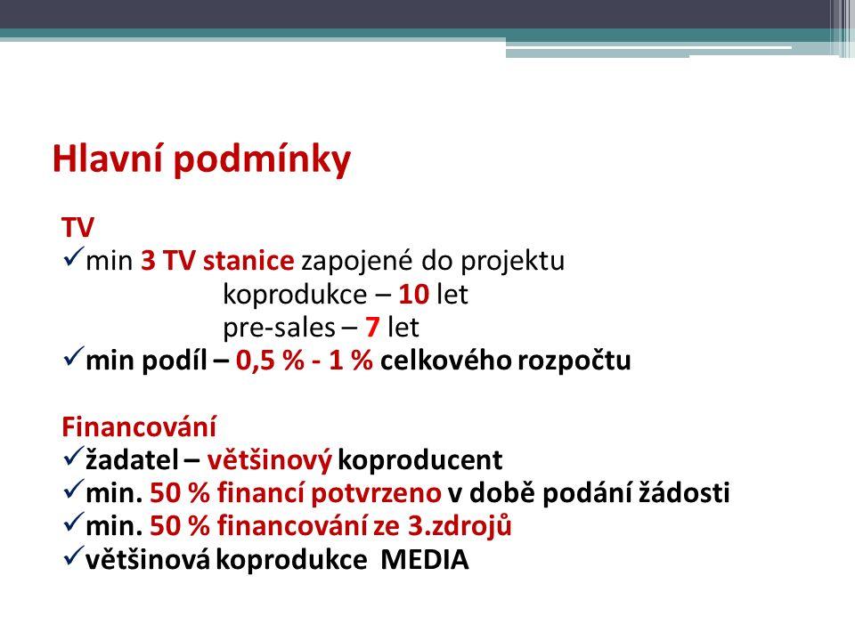 Hlavní podmínky TV min 3 TV stanice zapojené do projektu koprodukce – 10 let pre-sales – 7 let min podíl – 0,5 % - 1 % celkového rozpočtu Financování žadatel – většinový koproducent min.