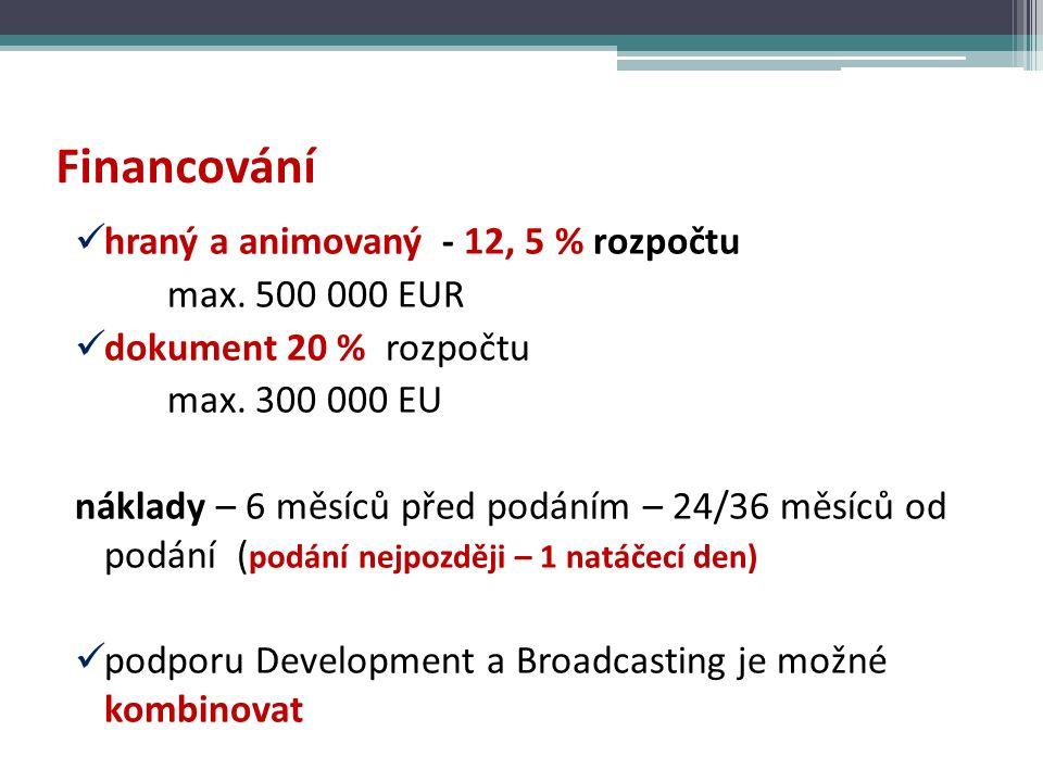 Financování hraný a animovaný - 12, 5 % rozpočtu max.
