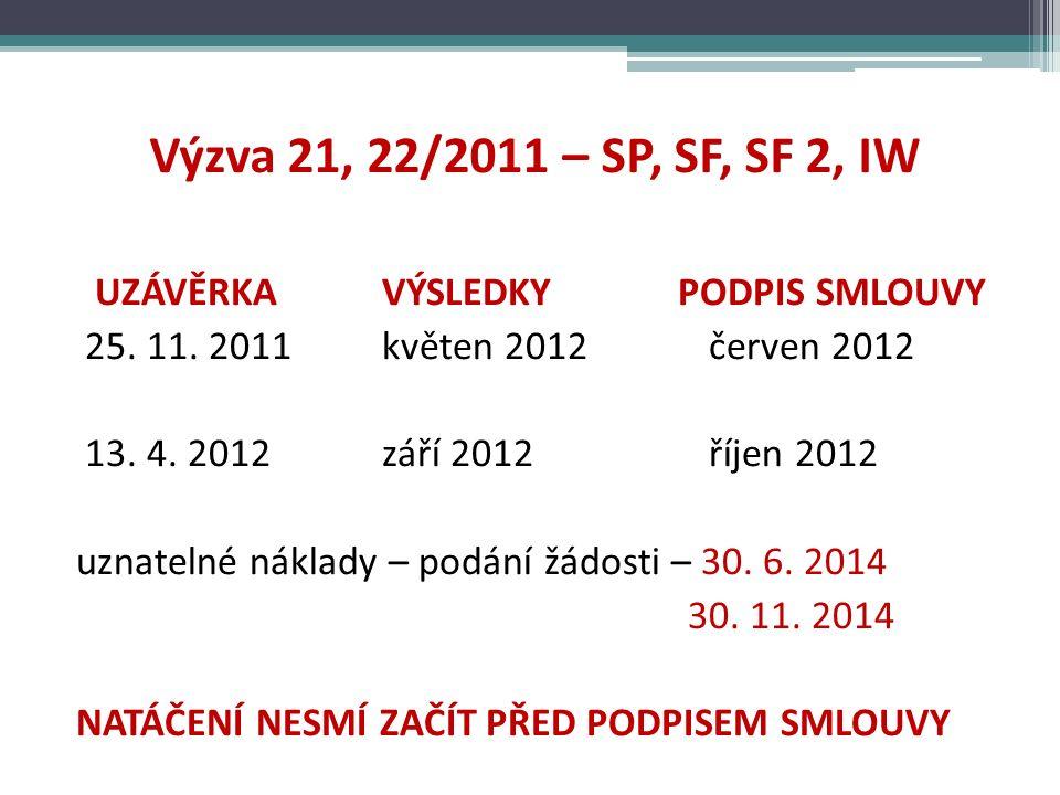 Výzva 21, 22/2011 – SP, SF, SF 2, IW UZÁVĚRKA VÝSLEDKY PODPIS SMLOUVY 25.