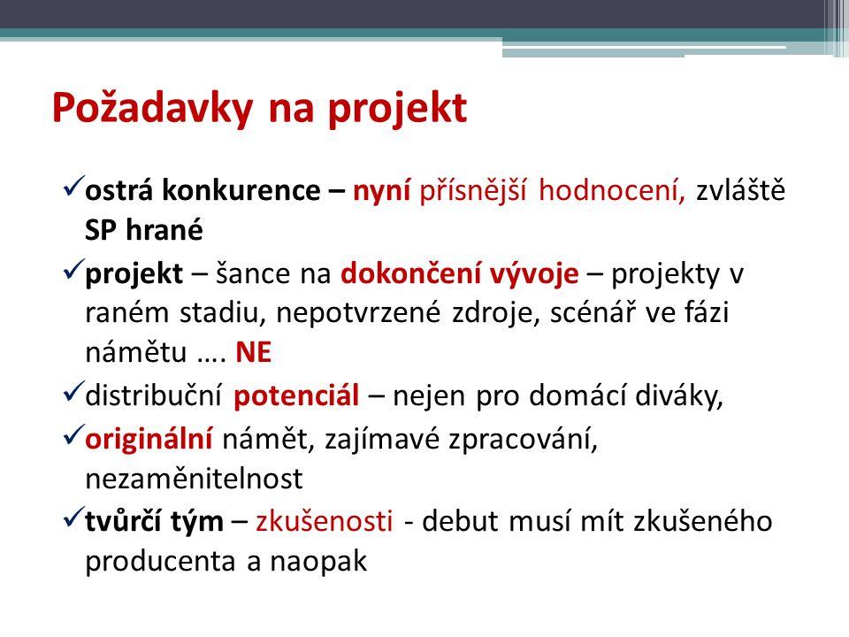 Požadavky na projekt ostrá konkurence – nyní přísnější hodnocení, zvláště SP hrané projekt – šance na dokončení vývoje – projekty v raném stadiu, nepotvrzené zdroje, scénář ve fázi námětu ….
