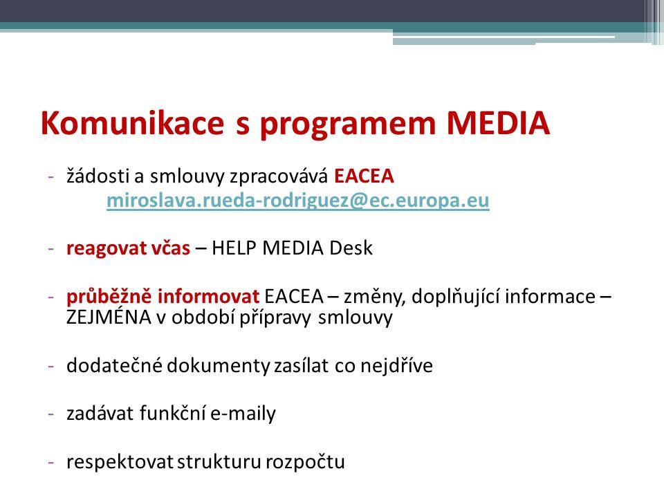 Komunikace s programem MEDIA -žádosti a smlouvy zpracovává EACEA miroslava.rueda-rodriguez@ec.europa.eu -reagovat včas – HELP MEDIA Desk -průběžně informovat EACEA – změny, doplňující informace – ZEJMÉNA v období přípravy smlouvy -dodatečné dokumenty zasílat co nejdříve -zadávat funkční e-maily -respektovat strukturu rozpočtu