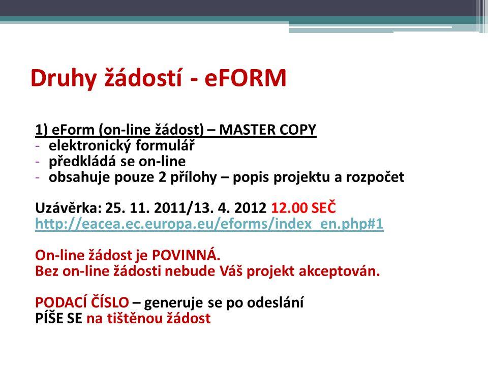 Druhy žádostí - eFORM 1) eForm (on-line žádost) – MASTER COPY -elektronický formulář -předkládá se on-line -obsahuje pouze 2 přílohy – popis projektu a rozpočet Uzávěrka: 25.