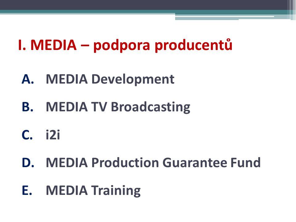 I. MEDIA – podpora producentů A.MEDIA Development B.MEDIA TV Broadcasting C.i2i D.MEDIA Production Guarantee Fund E.MEDIA Training
