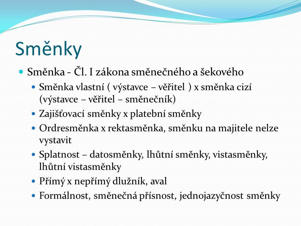 Směnky Směnka - Čl.