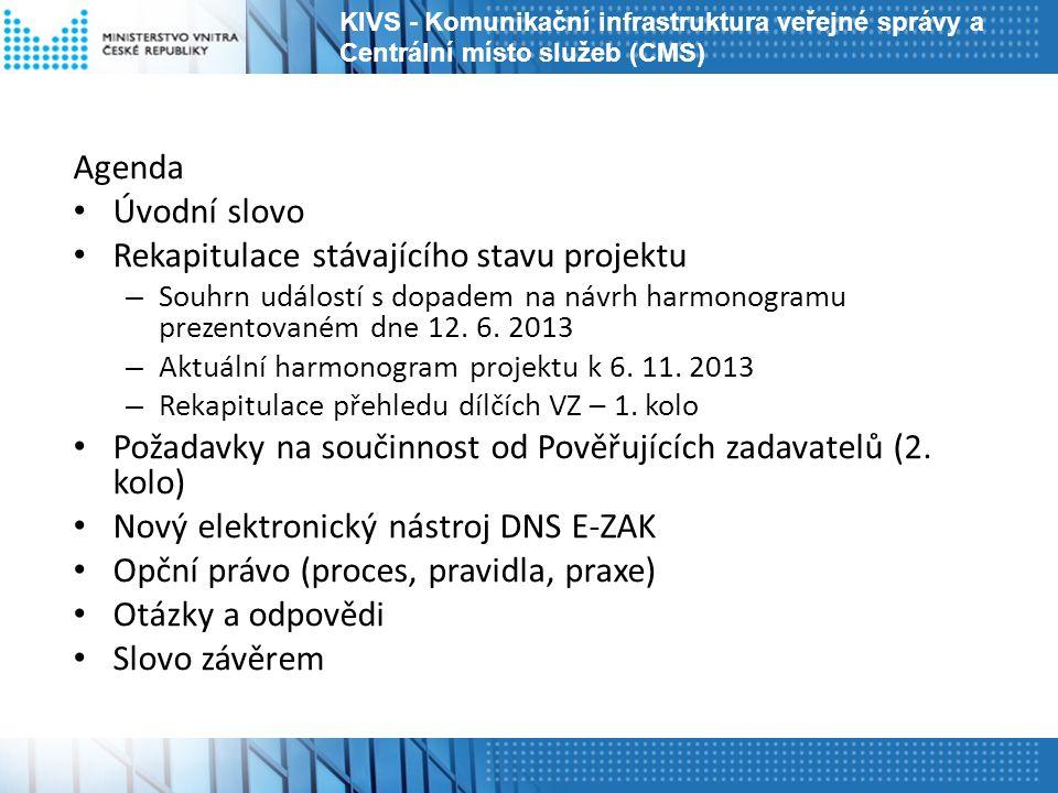 Agenda Úvodní slovo Rekapitulace stávajícího stavu projektu – Souhrn událostí s dopadem na návrh harmonogramu prezentovaném dne 12. 6. 2013 – Aktuální