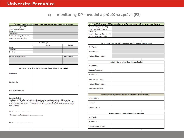c)monitoring DP – úvodní a průběžná zpráva (PZ)