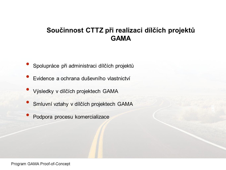 Součinnost CTTZ při realizaci dílčích projektů GAMA Spolupráce při administraci dílčích projektů Evidence a ochrana duševního vlastnictví Výsledky v dílčích projektech GAMA Smluvní vztahy v dílčích projektech GAMA Podpora procesu komercializace Program GAMA Proof-of-Concept