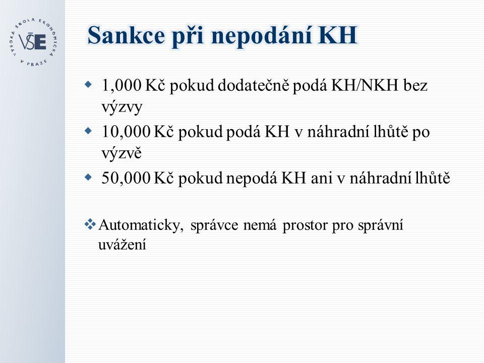  1,000 Kč pokud dodatečně podá KH/NKH bez výzvy  10,000 Kč pokud podá KH v náhradní lhůtě po výzvě  50,000 Kč pokud nepodá KH ani v náhradní lhůtě  Automaticky, správce nemá prostor pro správní uvážení