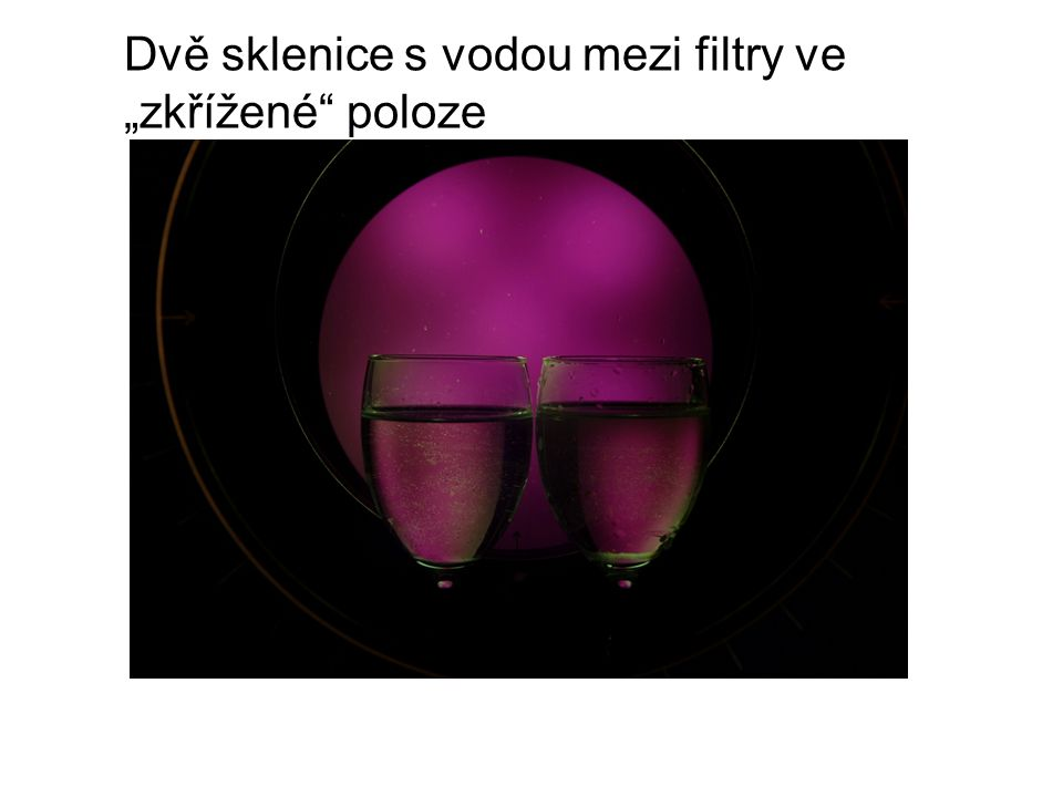 """Dvě sklenice s vodou mezi filtry ve """"zkřížené"""" poloze"""