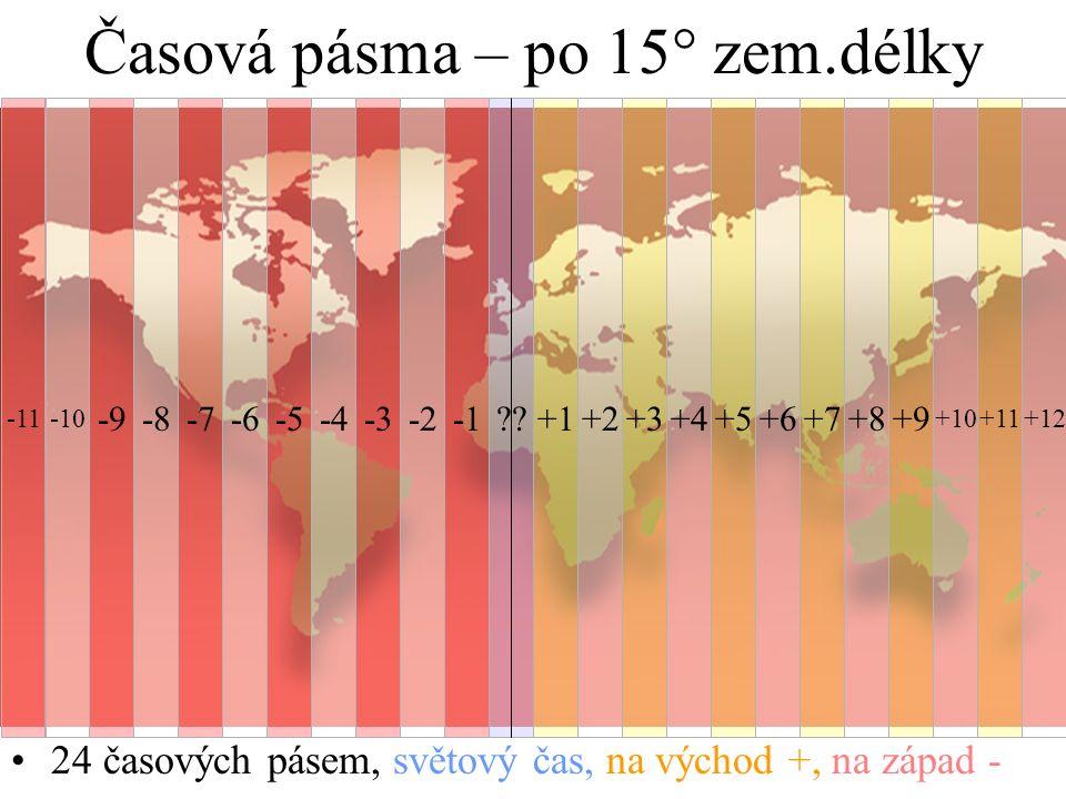 Časová pásma – po 15° zem.délky 24 časových pásem, světový čas, na východ +, na západ - ??+1+2+3+4+5+6+7+8 +11 +9 +10 -2-3-4-5-6-7-8-9 -10-11+12