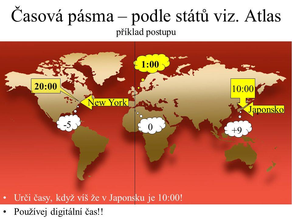 Časová pásma – po 15° zem.délky 24 časových pásem, světový čas, na východ +, na západ - +1+2+3+4+5+6+7+8 +11 +9 +10 -2-3-4-5-6-7-8-9 -10-11+12